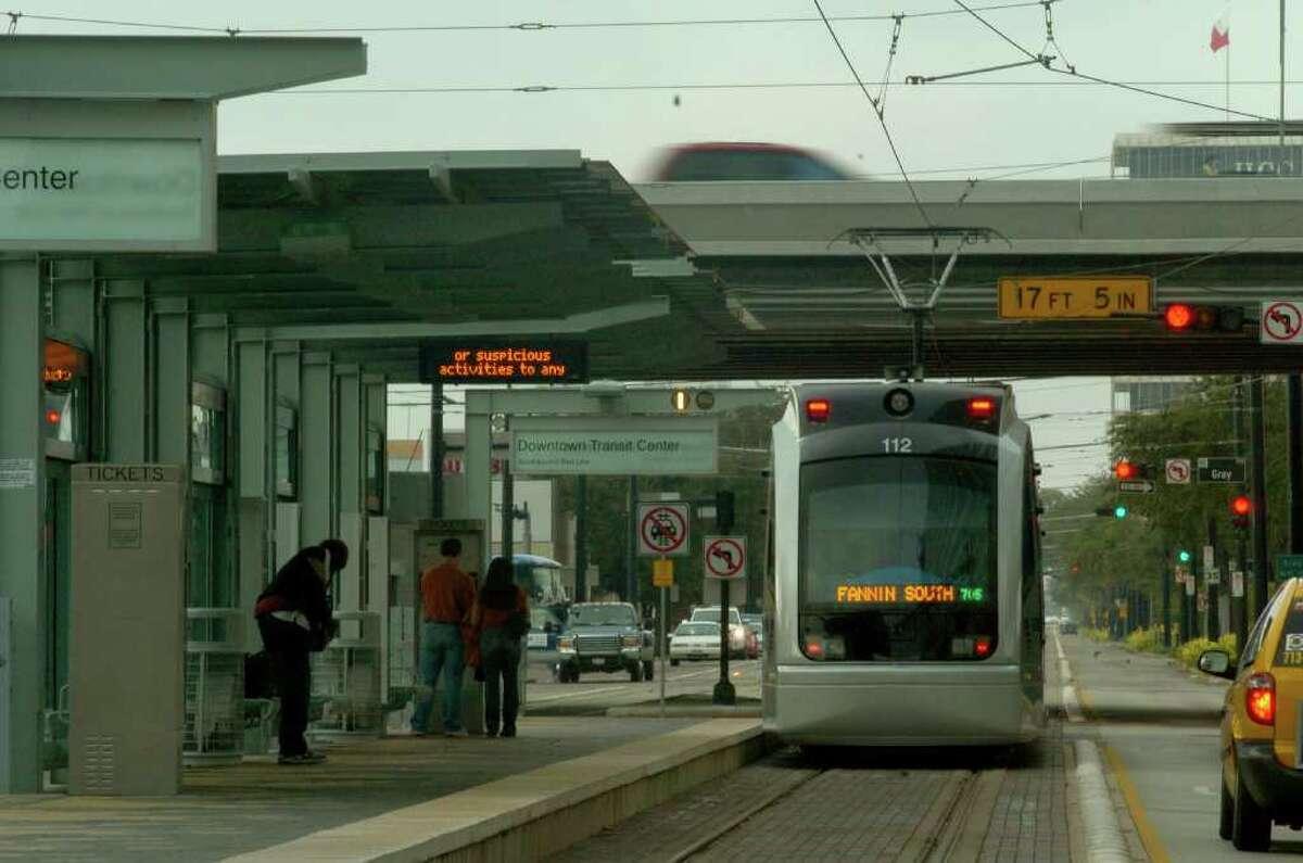 Light rail rolls through downtown.