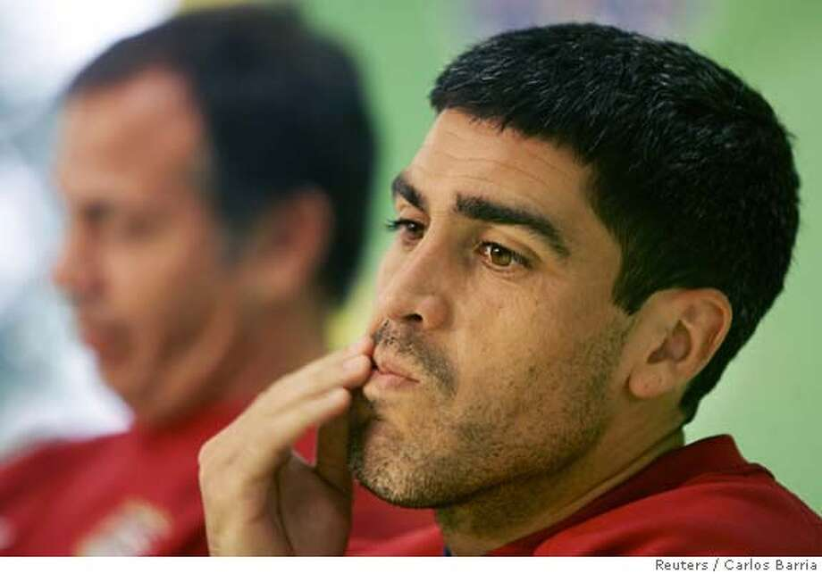 Claudio Reyna of the U.S.attends news conference at the Kaiserslautern stadium Photo: CARLOS BARRIA
