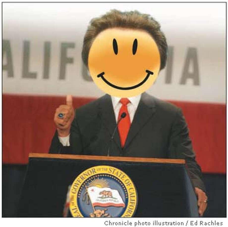 Governor pastes on a political smile