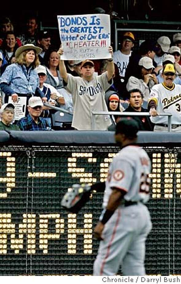 """giants040112_db.JPG  Barry Bonds is greeted with several signs by padres fans this one using the word """"cheater,"""" as he takes left field in the first inning. San Francisco Giants vs. San Diego Padres at Petco Park.  Event on 4/3/06 in San Diego.  Darryl Bush / The Chronicle Photo: Darryl Bush"""