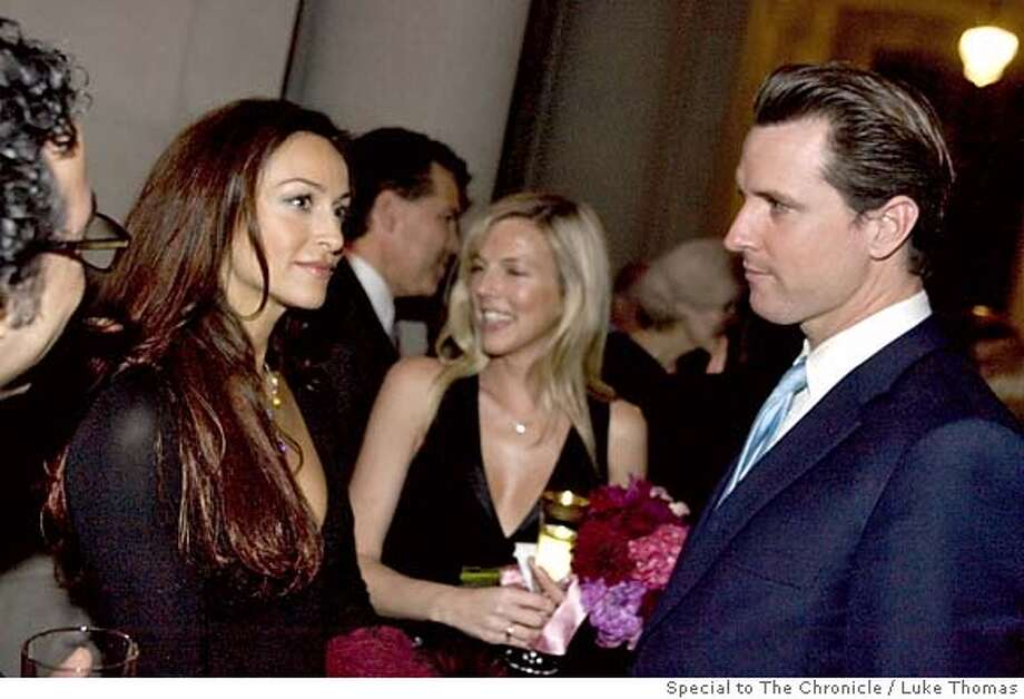 San Francisco Mayor Gavin Newsom eyes CSI:Miami actress, Sophia Milos, on the occassion of Joe Alioto-Veronese and Julie Gilman's wedding reception at City Hall on 2/19/6. Photo by Luke Thomas/Special to The Chronicle  ONE TIME USE ONLY!  Phone:(415) 290-1802  SanFranciscoSentinel.com Photo: Luke Thomas/Special To The Chron