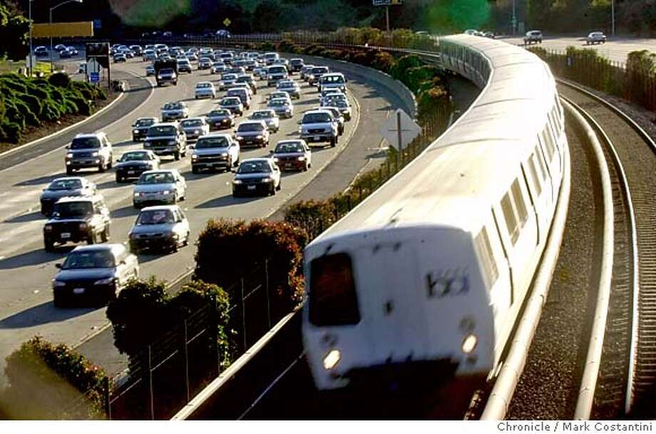 transit03_0110.JPG Photo taken on 3/02/04 in Orinda. Traffic along 24 with BART zooming past. For election story on Measure 2.  CHRONICLE PHOTO BY MARK COSTANTINI MANDATORY CREDIT FOR PHOTOG AND SF CHRONICLE/ -MAGS OUT ProductName	Chronicle ProductName	Chronicle  Ran on: 02-28-2006  BART helps alleviate traffic on Highway 24 near Orinda, but transit remains a top concern for Bay Area residents, as it has for decades. ##Chronicle#5/14/2004####0421652718 Photo: MARK COSTANTINI