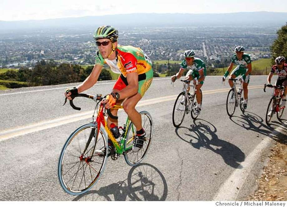 BIKE_113_MJM.jpg  Ben Jacques-Maynes (left) of the Kodak Gallery.Com-Sierra Nevada Pro team suffers in the lead group of climbers up the lower sections of the Sierra Road climb above San Jose.  Stage 2 of the Amgen Tour of California bicycle race.  A 94.9 mile race from Martinez to San Jose.  Photo by Michael Maloney / San Francisco Chronicle on 2/21/06 in San Jose,CA Photo: Michael Maloney