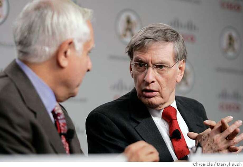 athletics14_014_db.JPG  Major League Baseball Commissioner, Allan H. (Bud) Selig, right, talks with Athletics Co-owner and Managing partner, Lew Wolf, left, as they begin a news conference to announce plans to move the Athletics to Fremont and unveil the new Cisco Field logo for the team, at an Oakland Athletics press conference at Cisco Systems in (cq) in San Jose, CA, on Tuesday, November, 14, 2006. 11/14/06  Darryl Bush / The Chronicle ** Lew Wolf, John Chambers, Allan H. (Bud) Selig, Michael Crowley (cq) (cq) MANDATORY CREDIT FOR PHOTOG AND SF CHRONICLE/ -MAGS OUT Photo: Darryl Bush