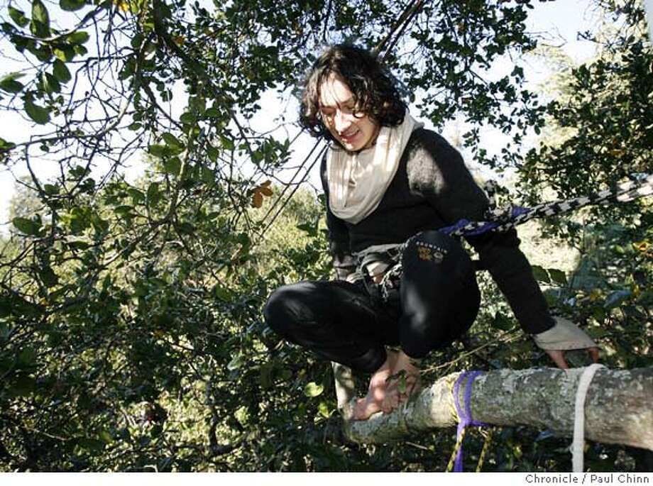 Jessica Walsh sits in an oak tree 40-feet above the ground in front of Memorial Stadium in Berkeley, Calif. on Tuesday, Dec. 19, 2006. Walsh climbed the tree 18 days ago to protest Cal's plan to cut the trees down to make way for a new athletic facility.  PAUL CHINN/The Chronicle  **Jessica Walsh Photo: PAUL CHINN