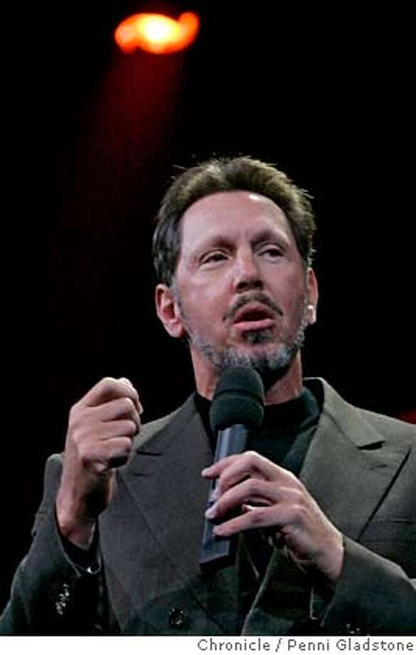 ELLISON056PG.JPG  Oracle CEO Larry Ellison speaks at Oracle world.  The San Francisco Chronicle  Photo taken on 12/9/04, in San Francisco, CA. Ran on: 12-09-2004  Oracle CEO Larry Ellison predicts an era of consolidation in the software industry. Photo: Penni Gladstone