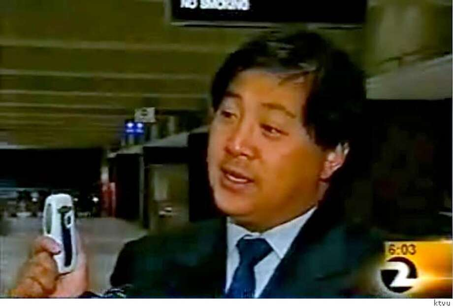 James Fang, of the BART Board, discusses the use of cell phones to pay fares. The segment aired on KTVU Monday morning October 30, 2006.  Credit: Courtesy KTVU Photo: Courtesy Ktvu