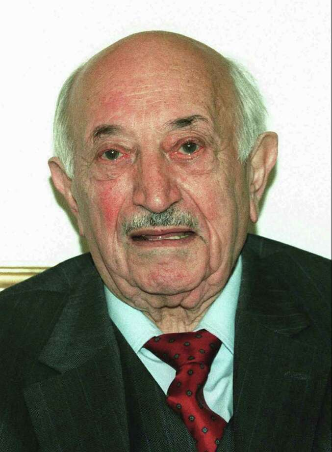 FILE-- This 1995 file photo shows Nazi-hunter Simon Wiesenthal. Mormon church leaders have apologized to the family of Holocaust survivor and Jewish rights advocate Simon Wiesenthal after his parents were posthumously baptized in a Mormon temple ritual last month. (AP Photo/Ronald Zak, File) Photo: RONALD ZAK