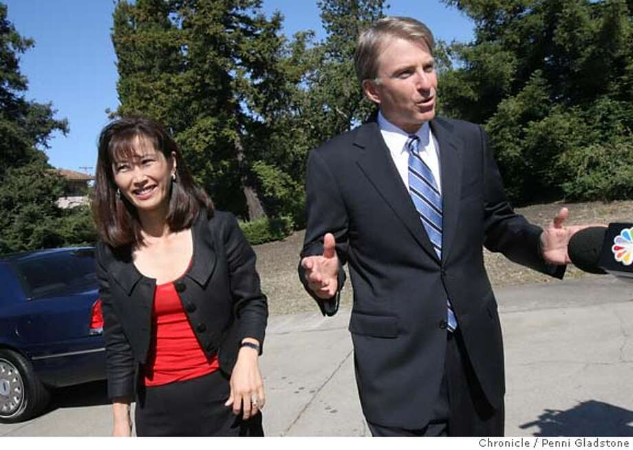 GOVERNOR07_WESTLY  Democratic candidate for governor Steve Westly and his wife, Anita Yu, talk to the press just before voting near their atherton home in Menlo Park on 6/6/06  By Penni Gladstone, SF Chronicle Photo: Penni Gladstone