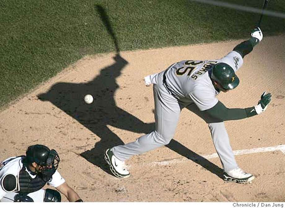 Frank Thomas fouls off a pitch during the top of the first inning. The Oakland Athletics play the Detroit Tigers in Game 4 of the American League Championship Series. Event on Saturday, October 14, 2006 at Comerica Park in Detroit, Michigan. Dan Jung / The Chronicle Photo: Dan Jung