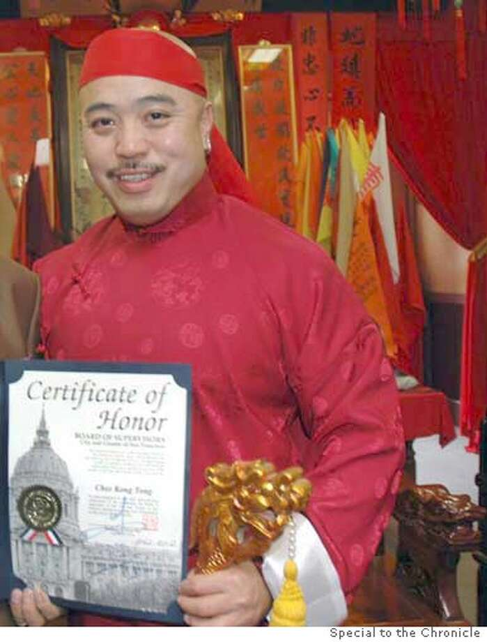"Convicted Chinatown gang member Raymond ""Shrimpboy'' Chow displays a certificate of honor from city. Credit: Special to the Chronicle Photo: Special To The Chronicle"