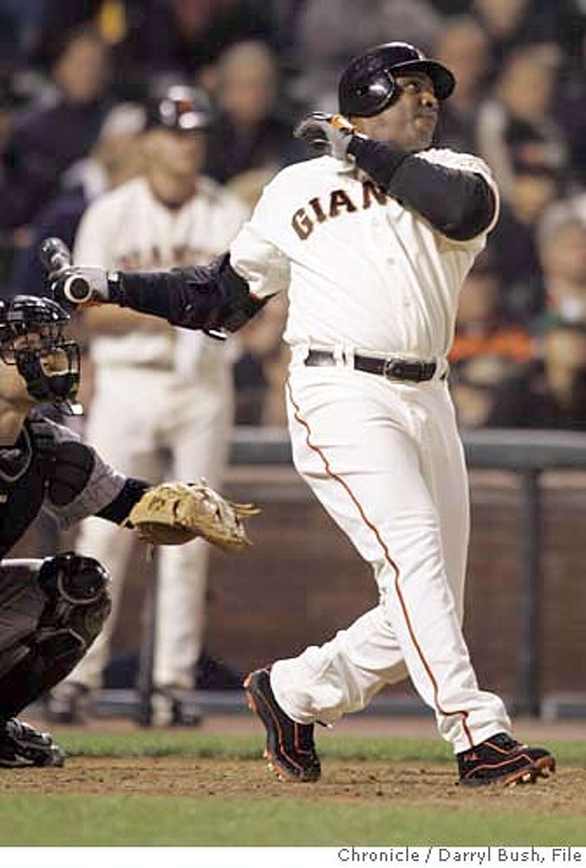 giants_0008_db.JPG San Francisco Giants Barry Bonds hits his 732nd career home run in the 9th inning but the solo shot wasn't enough as the Giants lost 9-8 vs. Colorado Rockies at AT&T Park in San Francisco, CA on Wednesday, September 13, 2006. 9/13/06 Darryl Bush / The Chronicle ** (cq) MANDATORY CREDIT FOR PHOTOG AND SF CHRONICLE/ -MAGS OUT