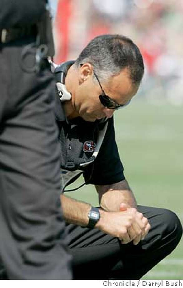 San Francisco 49ers head coach Mike Nolan pauses during the 2nd quarter. The SF niners play the Philadelphia Eagles at Monster Park in San Francisco on Sept. 24th, 2006.  Darryl Bush /The Chronicle Photo: Darryl Bush