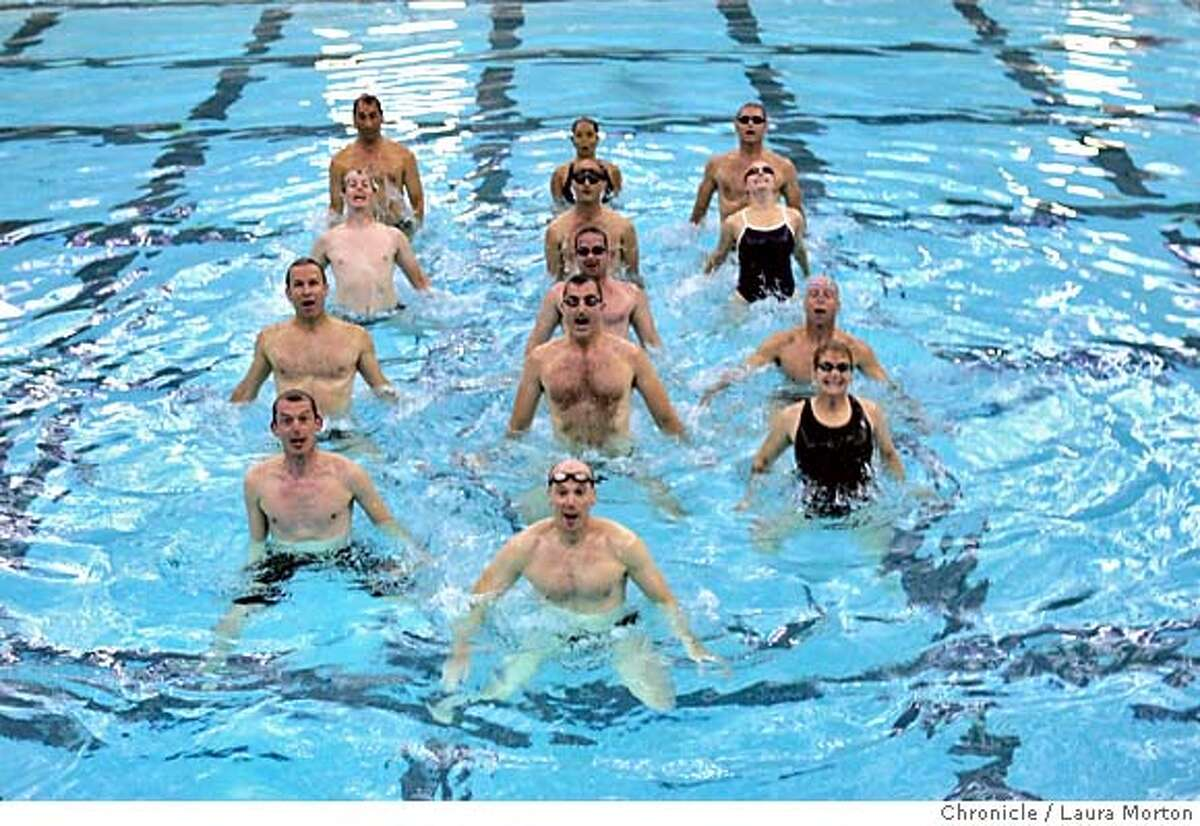 synchro_15226_lkm.jpg Members of the San Francisco Tsunami, a mostly male synchronized swimming team, work on their moves during practice at the Martin Luther King Recreation Center, in San Francisco, CA. The Tsunami were recently told they could not perform an exhibition at the World Masters Aquatics Championships held at Stanford because the world governing body of aquatics does not allow men to compete in synchronized swimming. Laura Morton/The Chronicle MANDATORY CREDIT FOR PHOTOGRAPHER AND SAN FRANCISCO CHRONICLE/ -MAGS OUT