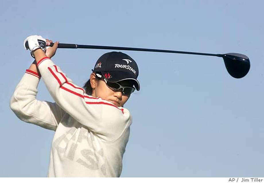 Japanese golfer Ai Miyazato hits a tee shot during her second round of LPGA Qualifying School at the LPGA International Golf Course in Daytona Beach, Fla. Thursday, Dec. 1, 2005. (AP Photo/The Daytona Beach News-Journal, Jim Tiller ) EFE OUT Photo: JIM TILLER