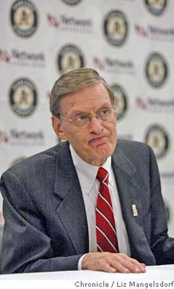 Event on 5/6/04 in Oakland.  Baseball commissioner Bud Selig talks with the media before the A's game, and after a tour of the stadium.  Liz Mangelsdorf / The Chronicle Photo: Liz Mangelsdorf