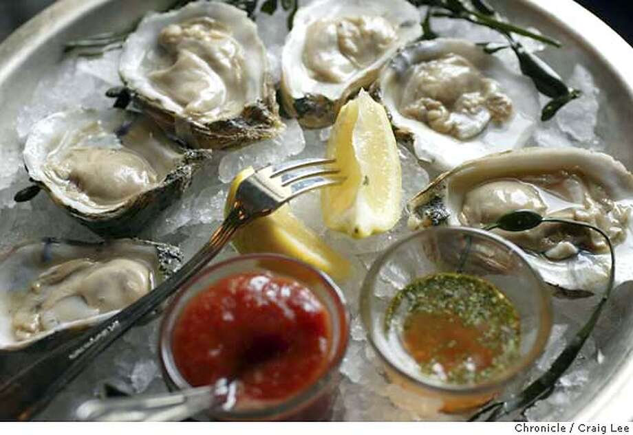 Willi's Seafood & Raw Bar restaurant in Healdsburg at 403 Healdsburg Avenue. Photo of oysters. Photo for restaurant review in the Sunday magazine.  Event on 2/23/04 in Healdsburg. Craig Lee / The Chronicle Photo: Craig Lee