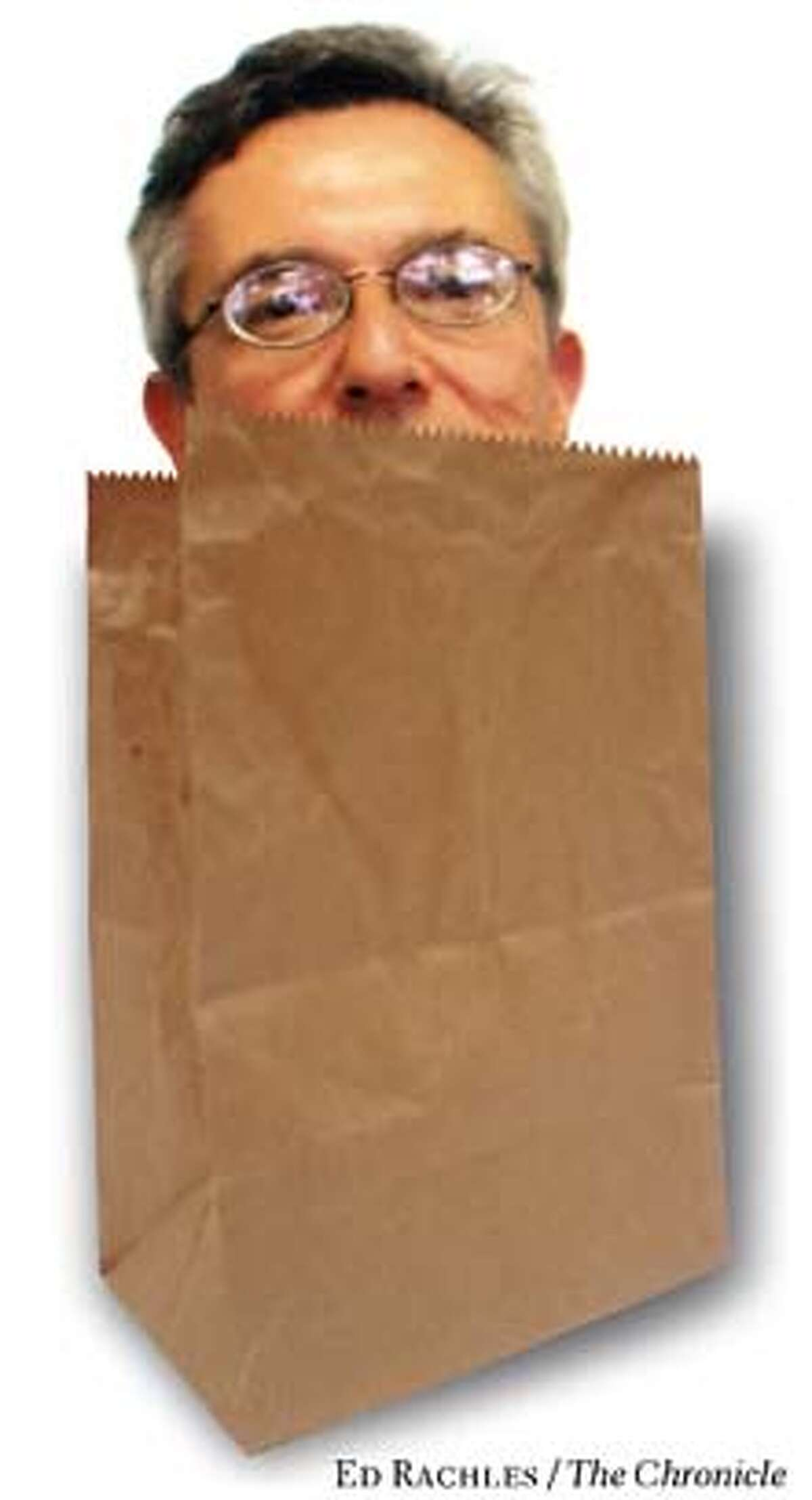 Miles Locker has been suspended from his job in the Department of Industrial Relations for attending a brown bag luncheon on lunch-break rights. Chronicle photo illustration by Ed Rachles