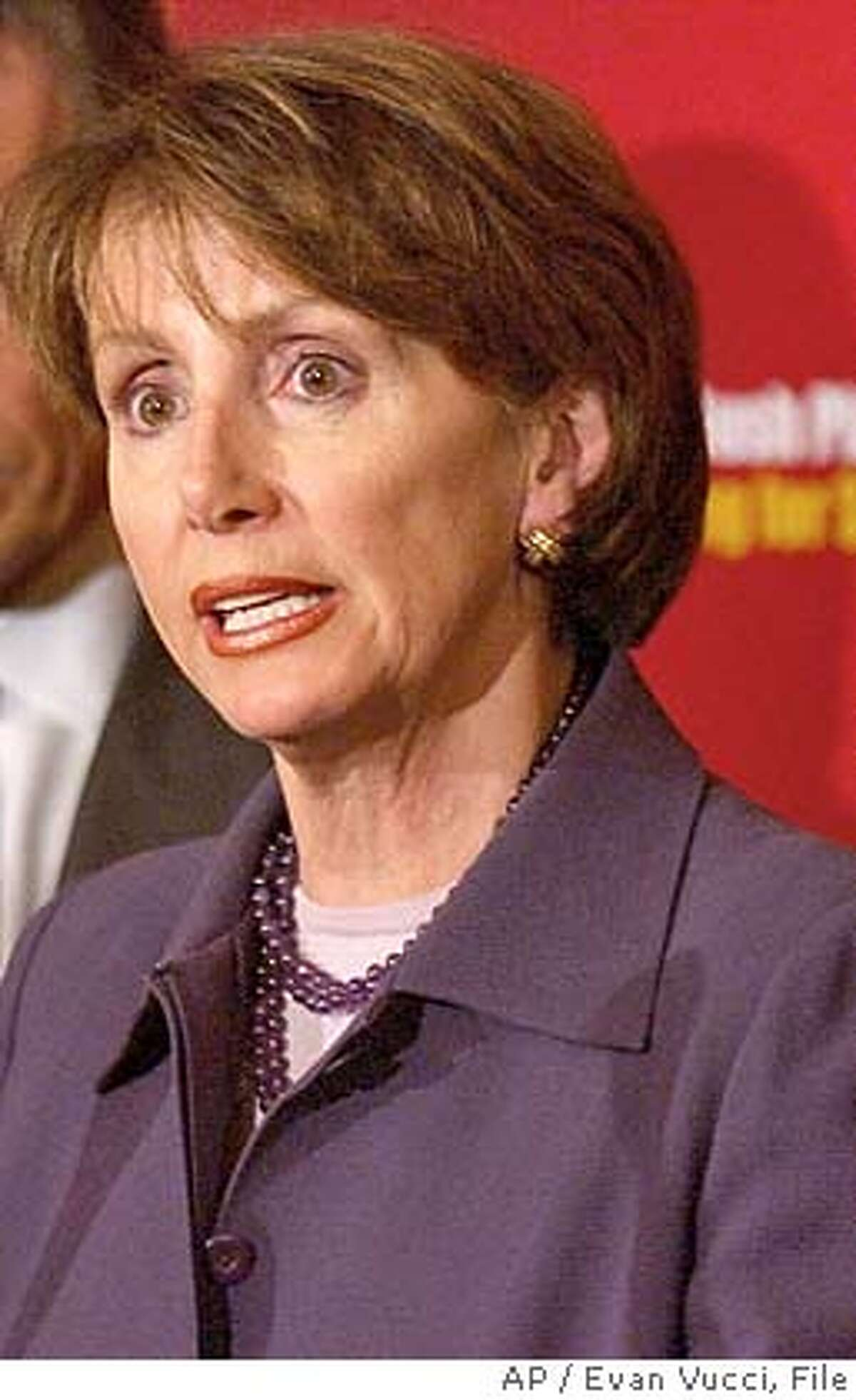 **FILE** House Minority Leader Nancy Pelosi, D-Calif., shown in this Feb. 27, 2003, file photo, is among the Democrats' wealthiest members, according to financial disclosure forms released Monday, June 16, 2003. She joins another newcomer to the leadership, Senate Majority Leader Bill Frist, R-Tenn., in the Capitol Hill multimillionaire club. Senators released their disclosure forms on Friday, June 13, 2003. (AP Photo/Evan Vucci, File) House Minority Leader Nancy Pelosi stands by her comments. House Minority Leader Nancy Pelosi stands by her comments. CAT