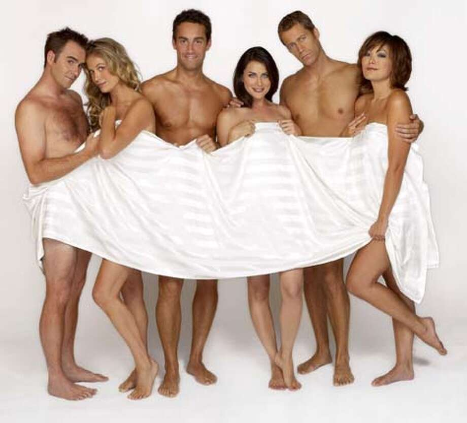 COUPLING -- NBC Series -- Pictured: (l-r) Christopher Moynihan, Sonya Walger, Jay Harrington, Rena Sofer, Colin Ferguson, Lindsay Price -- NBC Photo: Paul Drinkwater