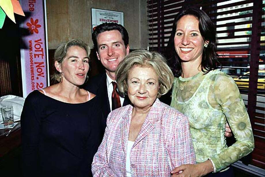 Left to Right: Summer Tompkins Walker; Mayor gavin Newsom, Jeannette Etheredge, and Francesca Vietor at the 1000 Flowers fund raiser at Tosaca Cafe. Photo: Thomas J. Gibbons