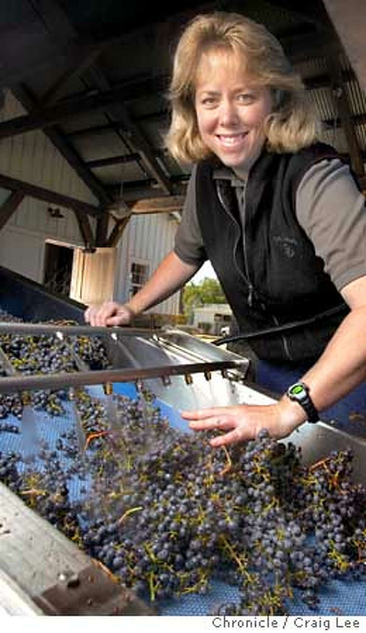 Winemakers to watch. Photo of Darice Spinelli, winemaker to watch. She is the winemaker at Nickel and Nickel in Oakville. Photo of Darice Spinelli processing the grapes for washing and crushing. These grapes are for their Stelling Vineyard Cabernet Sauvignon. Event on 10/20/03 in Oakville. CRAIG LEE / The Chronicle