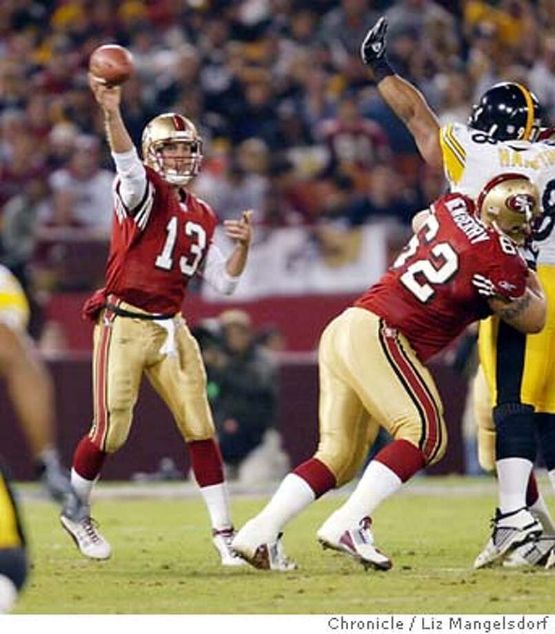 46FB0002.JPG Event on 11/17/03 in San Francisco.  49er quarterback Tim Rattay passes under pressure in the 2nd quarter.  The play the Pittsburgh Steelers at Candlestick Park.  LIZ MANGELSDORF / The Chronicle Photo: LIZ MANGELSDORF