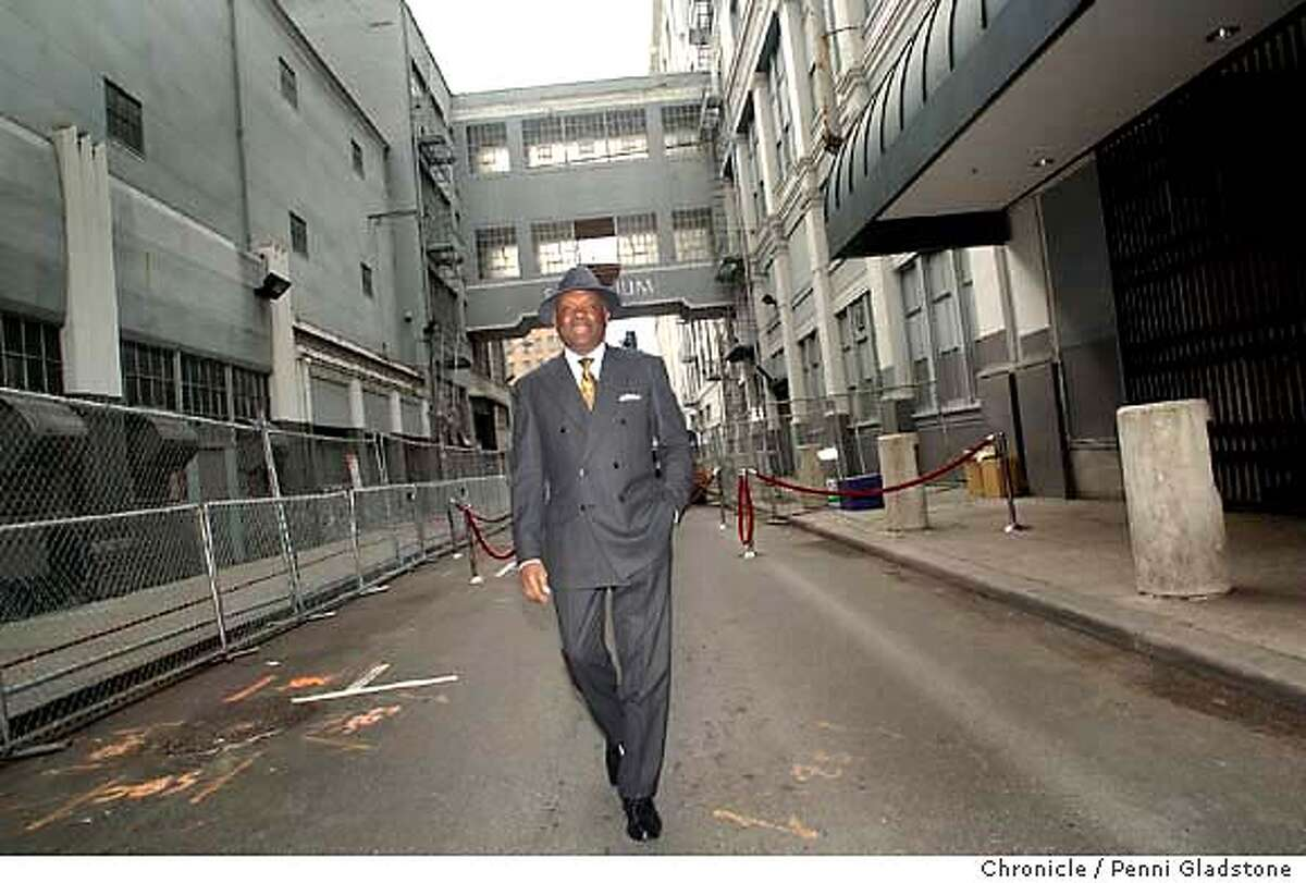 Mayor Willie Brown exits the ally way after the ceremony. $410 million Bloomingdale's project ground breaking ceremony at old Emporium. on 11/13/03, in San Francisco, CA.. Photo by PENNI GLADSTONE / The San Francisco Chronicle