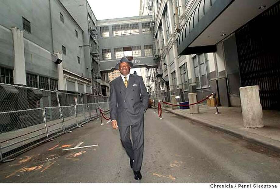 Mayor Willie Brown exits the ally way after the ceremony. $410 million Bloomingdale's project ground breaking ceremony at old Emporium.  on 11/13/03, in San Francisco, CA.. Photo by PENNI GLADSTONE / The San Francisco Chronicle Photo: PENNI GLADSTONE