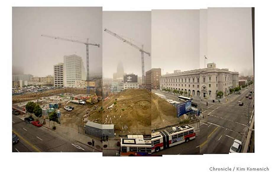 10/22/03 in San Francisco  EDS NOTE: This is a horizontal composite photo made up of five vertical photos shot with a 14mm lens on a Nikon D1-X camera. The new Federal Building at 7th and Mission is taking shape. It's across the street from the Federal Court of Appeals building (right).  KIM KOMENICH/The Chronicle Photo: Kim Komenich