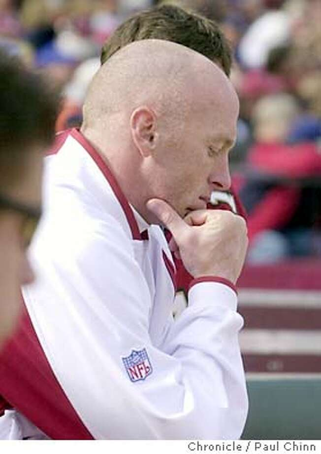 Jeff Garcia watched from the sidelines as Tim Rattay leads the offense in the first half. San Francisco 49ers vs. St. Louis Rams in San Francisco on 11/2/03.  First half. PAUL CHINN / The Chronicle Photo: PAUL CHINN