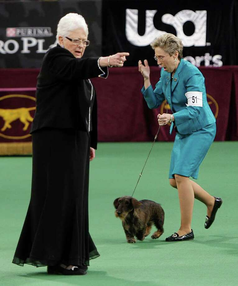 Handler Cheri Koppenhaver, right, reacts after judge Patricia Laurans, left, declared Cinders, a wirehaired dachshund, the winner of the hound group at the 136th annual Westminster Kennel Club dog show. Photo: Seth Wenig, Associated Press / AP