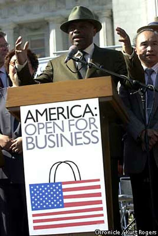 America open for business rally at City Hall 's Civic center plaza. Mayor Brown address the small crowed .Photo By Kurt Rogers Photo: Kurt Rogers