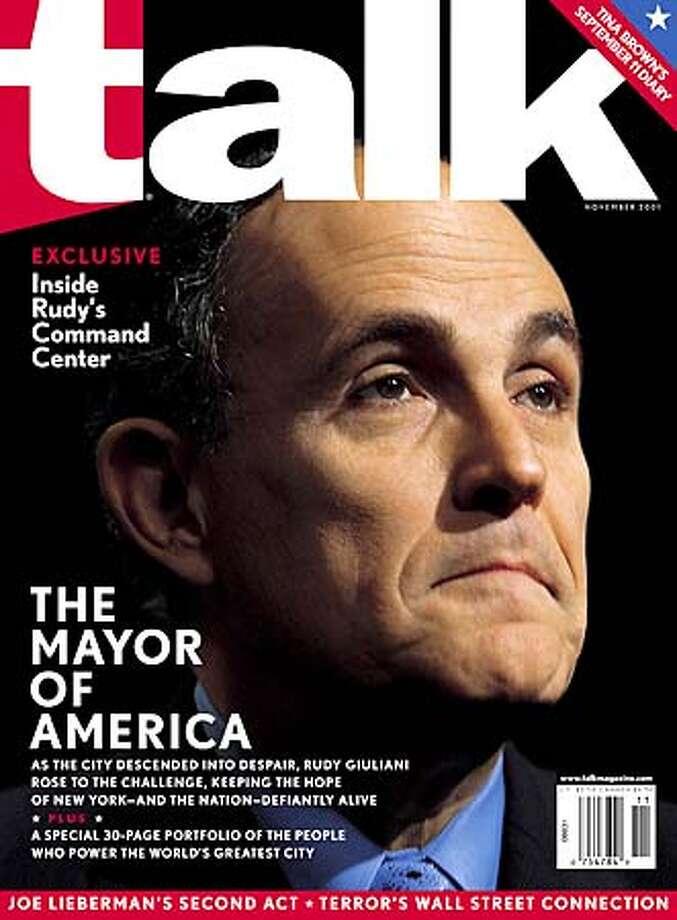 NY mayor Rudy Giuliani on the cover of the November issue of Talk magazine.