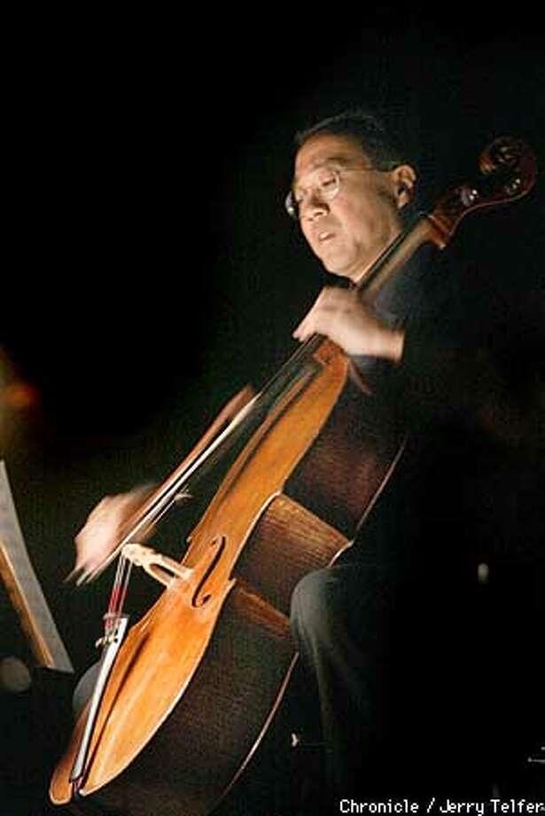 "Famed cellist Yo-Yo Ma accompanies the Mark Morris Dance Group as they rehearse the world premiere of ""Kolam,"" a Cal Performances presentation at UC Berkeley's Zellerbach Hall.  CHRONICLE STAFF PHOTO BY JERRY TELFER Photo: JERRY TELFER"