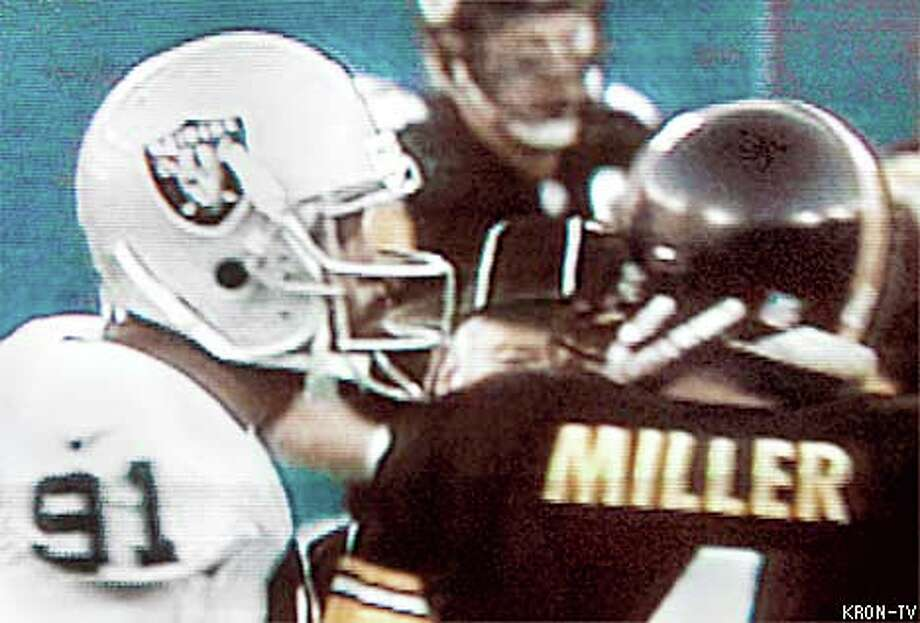 Raiders defensive end Regan Upshaw spat in the face of Pittsburgh Steelers punter Josh Miller during an altercation late in Sunday's game. Upshaw has since met with coach Jon Gruden and likely will hear from the league, as well. From KRON TV / KRON-TV  SAN FRANCISCO