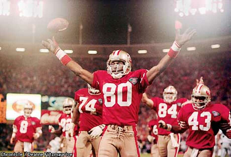 /C/07SEP94/SP/DF - 49ER CELEBRATES HIS RECORD SETTING TOUCHDOWN AGAINST THE RAIDERS SPECIAL SECTION: SUPER SEASON Photo by Deanne Fitzmaurice Photo: DEANNE FITZMAURICE