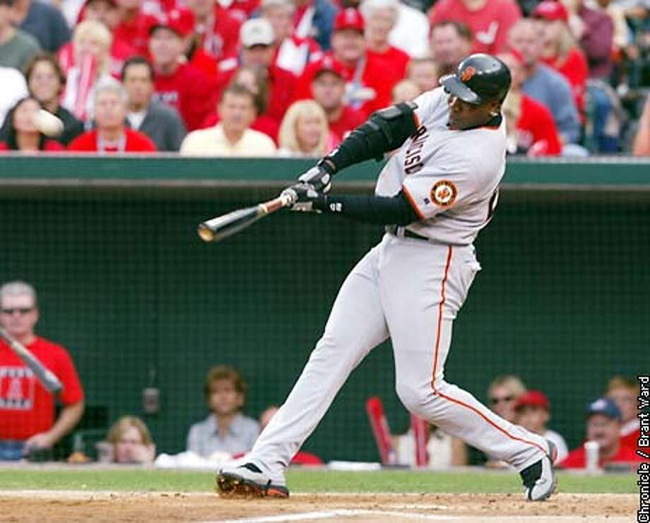 Giants Barry Bonds hits a second inning solo homerun. The San Francisco Giants play the Anaheim Angels in Game 1 of the World Series at Edison Field in Anaheim, Ca. October 19, 2002. Brant Ward/San Francisco Chronicle Photo: Brant Ward