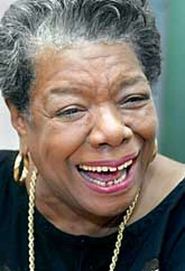 "Author Maya Angelou responds to a question during an interview in her New York apartment on Tuesday Jan. 29, 2002. Angelou, the author of ""I Know Why the Caged Bird Sings"" and ""Gather Together in My Name,"" has teamed with Hallmark to develop a line of greeting cards and gifts that distill her writings. (AP Photo/Richard Drew) Photo: RICHARD DREW"