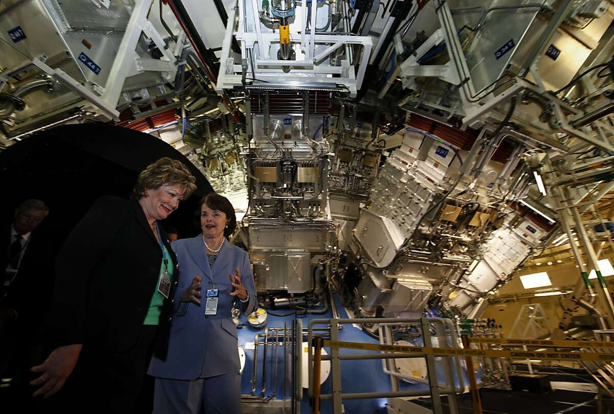 Local politians Ellen Tauscher, (left) and Dianne Feinstein tour the target chamber of the National ignition Facility in Livermore, Calif. on Friday May 29, 2009. The Lawrence lIvermore National Lab held a dedication ceremony tooday for the long awaited project.