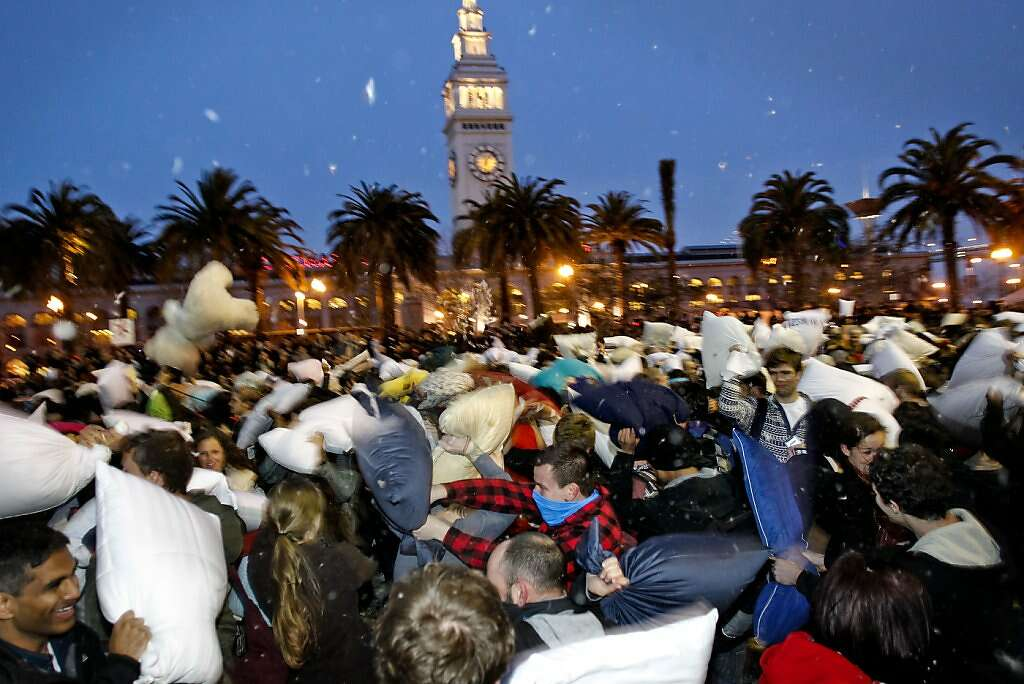 justin herman plaza filled is with fighters during the great san francisco valentines day pillow fight