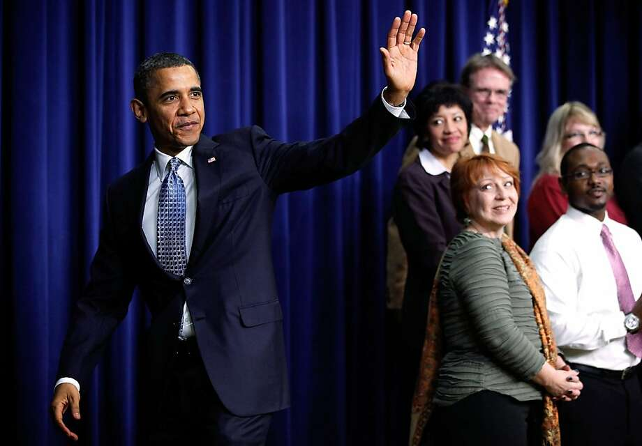 U.S. President Barack Obama waves after speaking about a payroll tax cut and unemployment insurance February 14, 2012 at the South Court Auditorium of the Eisenhower Executive Office Building of the White House in Washington, DC. Obama called on the Congress to extend the payroll tax cut and unemployment insurance through the end of the year. Photo: Chip Somodevilla, Getty Images
