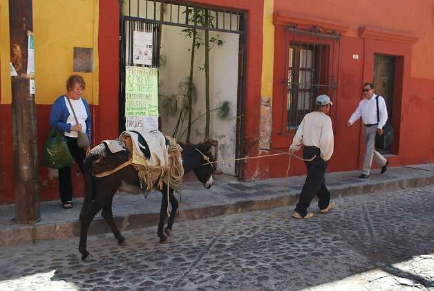 A donkey stops downtown traffic in San Miguel de Allende, which is located in the Sierra Madre northeast of Mexico City. Photo: Maribeth Mellin, Special To SFGate