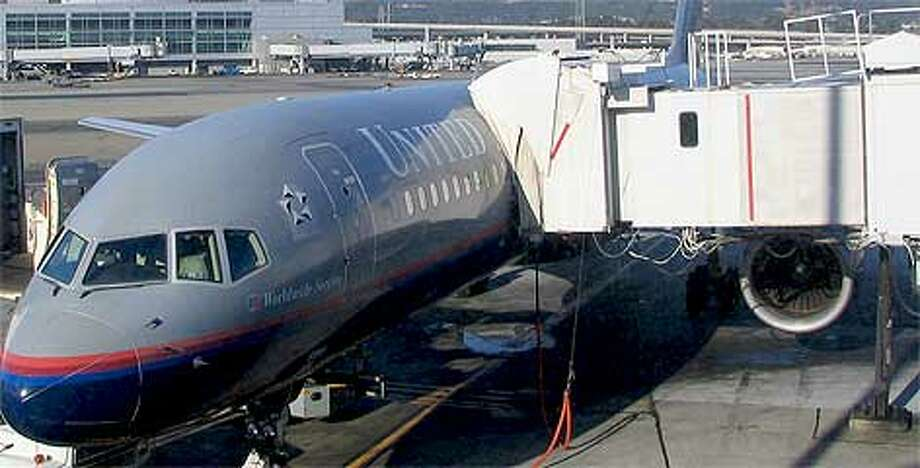 A United Boeing 757 is loaded.