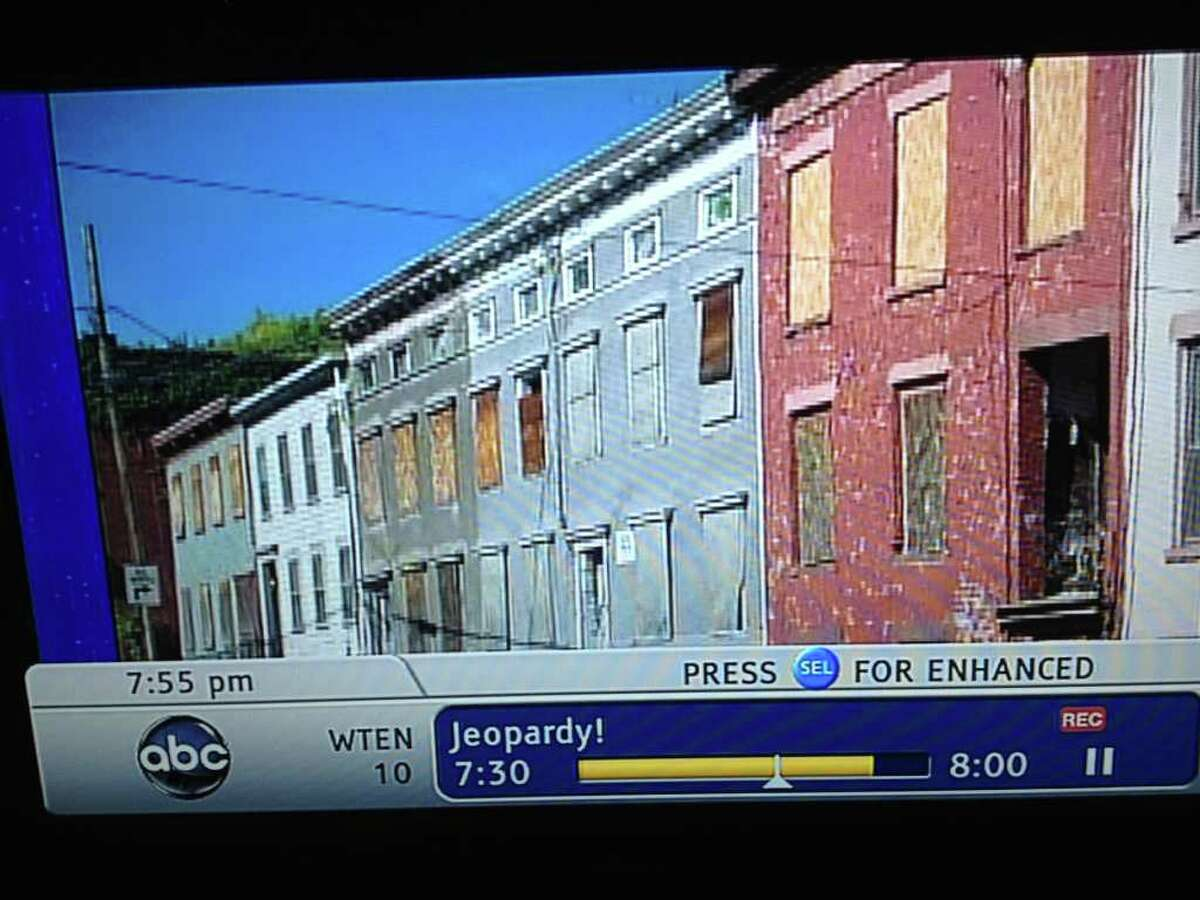 """This photograph of Sheridan Avenue in Albany was shown on screen when contestants on Tuesday night's broadcast of """"Jeopardy"""" were asked a question about urban blight. (WILL WALDRON/TIMES UNION)"""
