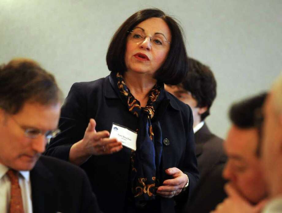 State Senator Toni Boucher speaks during the annual Legislative Breakfast at Norwalk Community College on Wednesday, February 15, 2012. Photo: Lindsay Niegelberg / Stamford Advocate