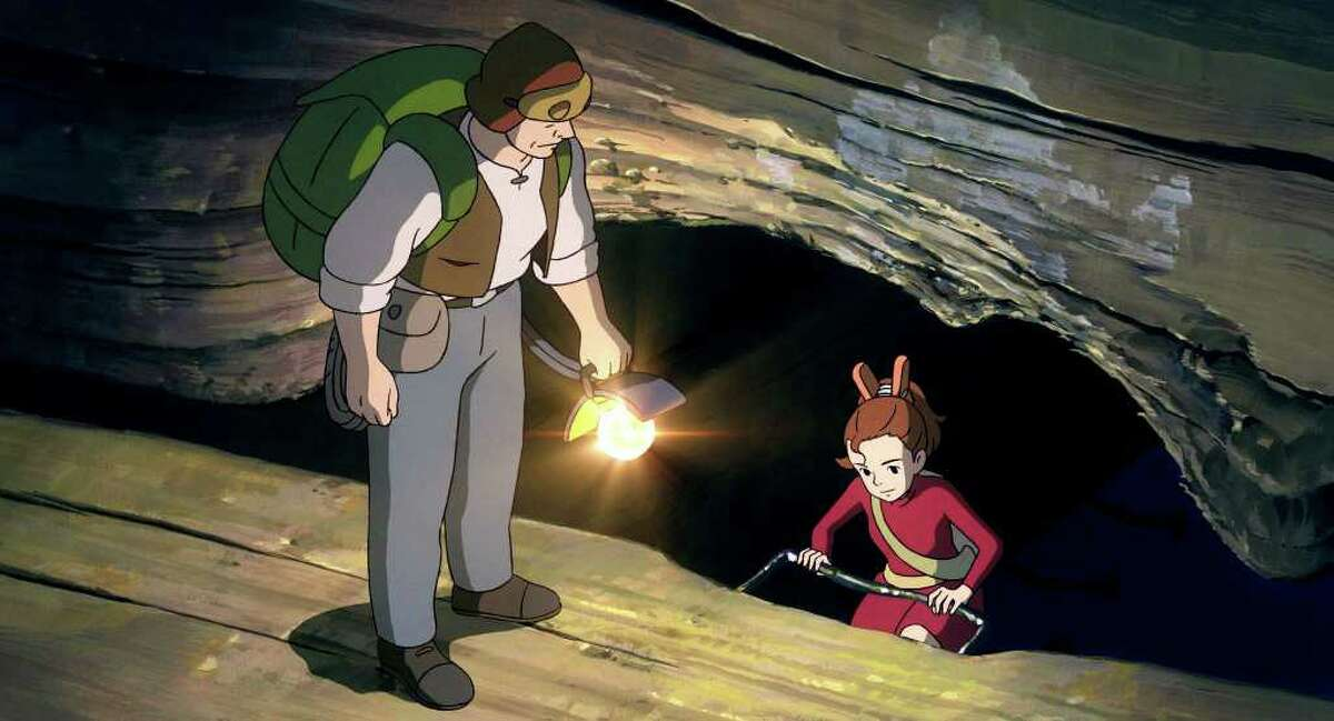 """In this image released by Disney, the character Arrietty, voiced by Bridgit Mender, is shown with her father Pod, voiced by Will Arnett, in a scene from the animated feature, """"The Secret World of Arrietty."""" (AP Photo/Disney)"""