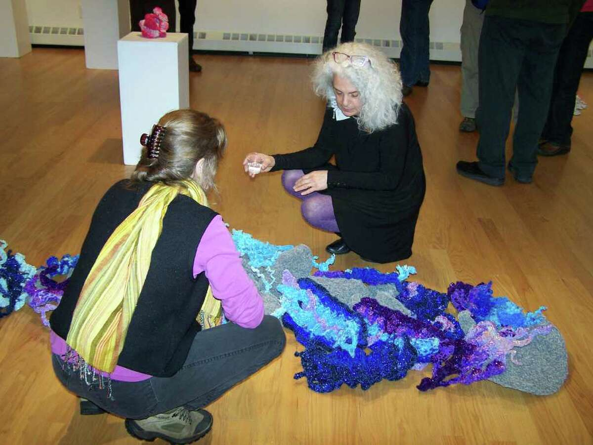 """Ginger Ertz speaks about her piece, """"Babbling Brook,"""" at the Courthouse Gallery of the Lake George Arts Project. (Courtesy the artist)"""