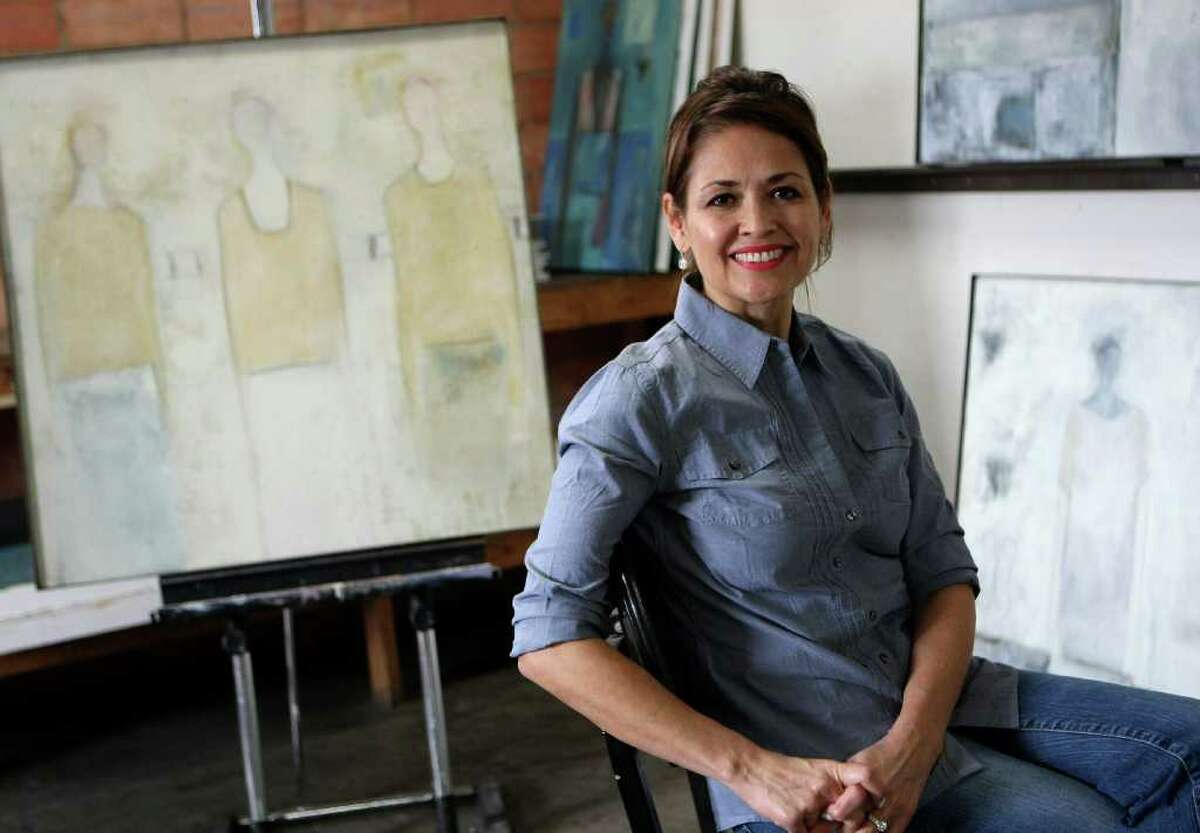 Laura Mijangos is the daughter of the late Alberto Mijangos, a respected abstract artist. She is having an exhibit of her own work at Anarte Gallery. Helen L. Montoya/San Antonio Express-News