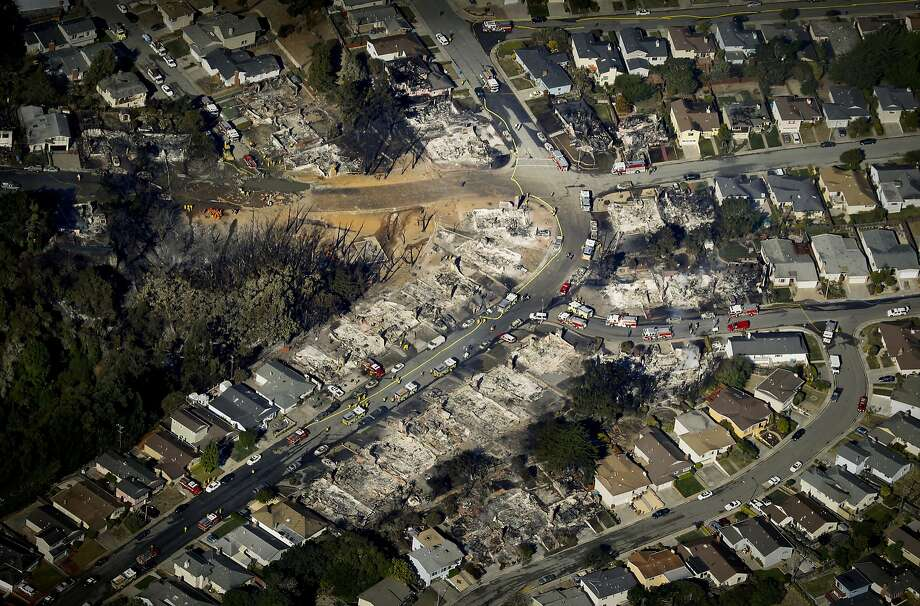An aerial photograph shows the path of the destructive fire that started with an explosion in an underground natural gas pipeline in San Bruno in September 2010. Photo: Brant Ward, The San Francisco Chronicle